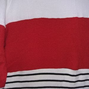 one clothing Dresses - One clothing white,red & striped turtleneck dress